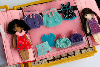 Handmade fabric quiet book Dollhouse by TomToy, special unique gift for a girl