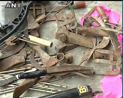 Police seized weapons such as knives, machetes, sickles and arrows from GJM office