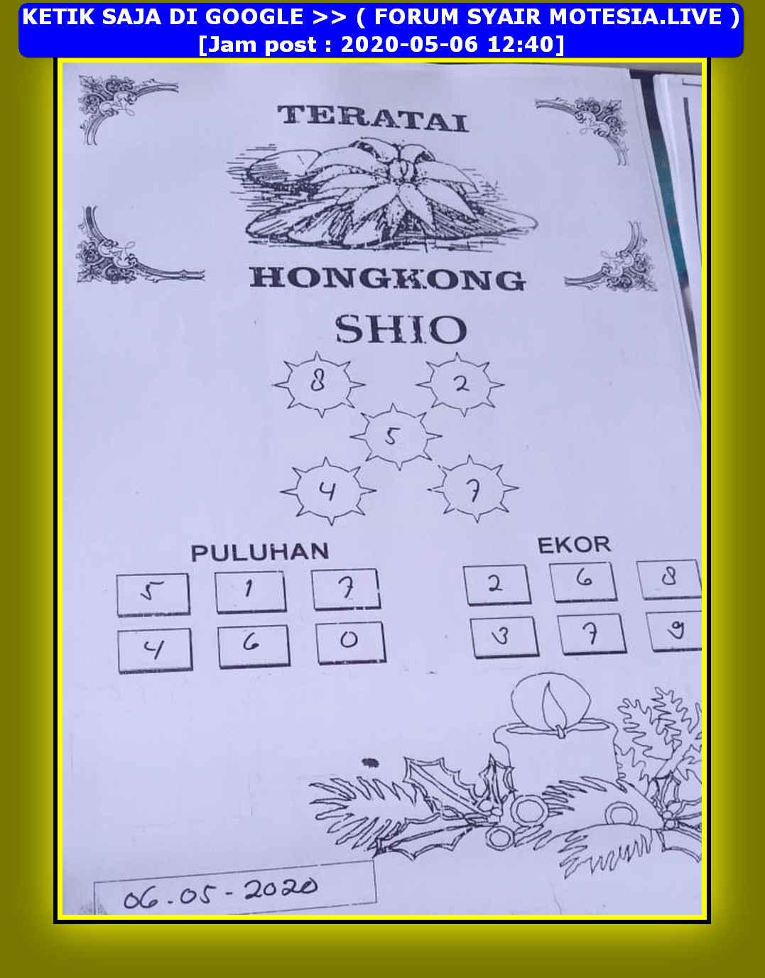 Kode syair Hongkong Rabu 6 Mei 2020 76