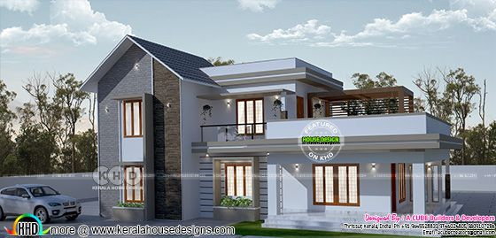 2736 square feet 4 bedroom mixed roof house plan