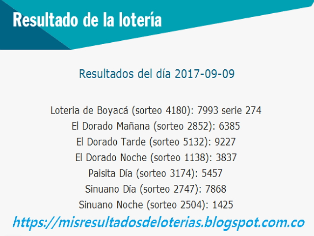 Como jugo la lotería anoche | Resultados diarios de la lotería y el chance | resultados del dia 09-09-2017