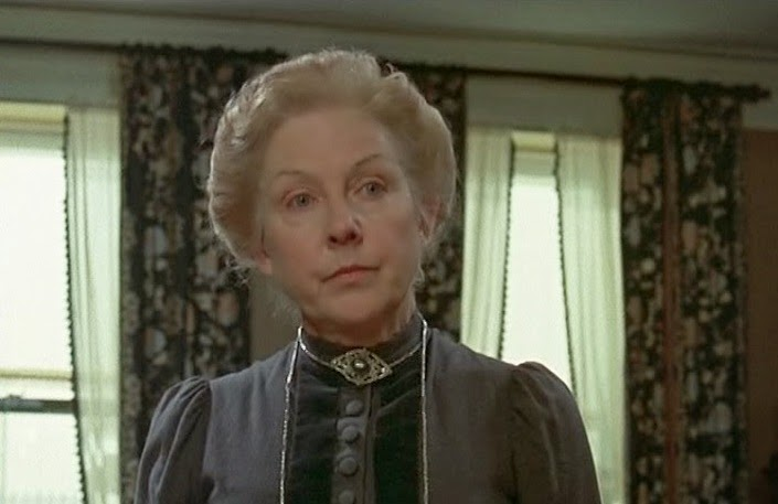 Rosalie Williams as Mrs. Hudson in the Granada Sherlock Holmes series starring Jeremy Brett