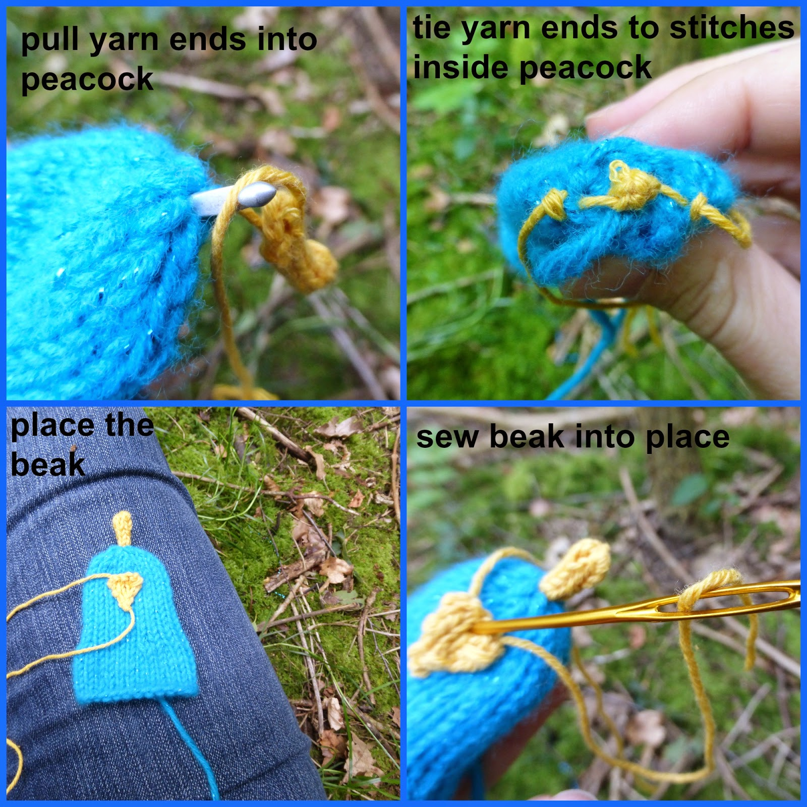 How To Knit A Peacock Free Pattern And Tutorial Yarn Birdy Slip Knot Diagram Additionally Stitch Crochet Eyes Use Embroidery Thread Needle Add Simple On Either Side Of The Beak