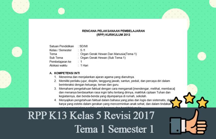 RPP K13 Kelas 5 Revisi 2017 Tema 1 Semester 1