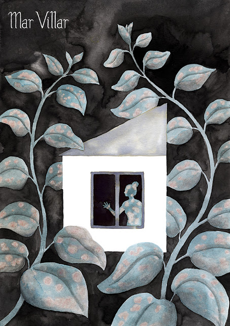 Inktober, Inktober 2016, plantas, hypoestes, silueta humana, ilustración a tinta, casa, enredaderas, tinta, aguada de tinta, quink, tinta parker
