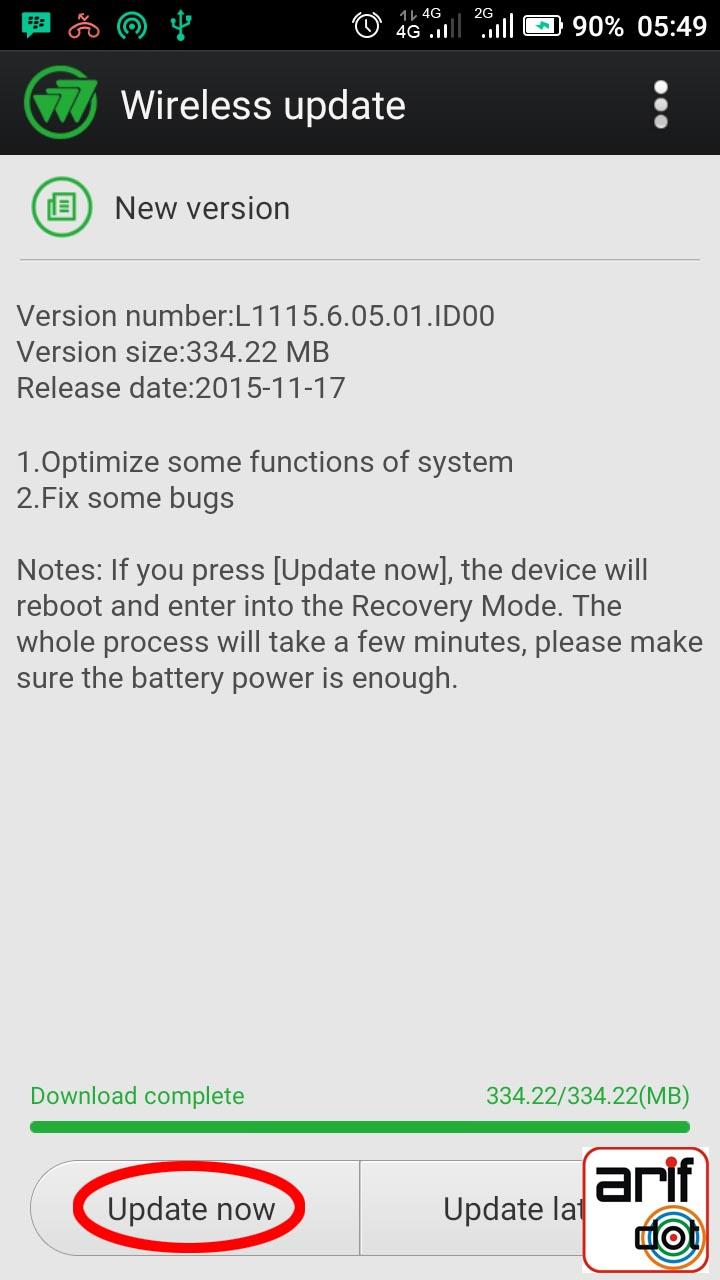 update system pureshot versi L1115.6.05.01.ID00