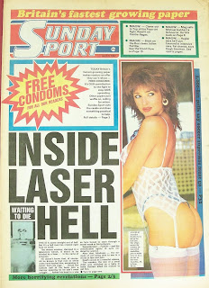 Front page of the Sunday Sport newspaper with a photo of Anelise Nesbitt
