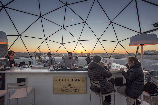 Le Cube Bar Paris, France Food + Drink Paris Trip Ideas dome structure Architecture sky roof building daylighting outdoor structure