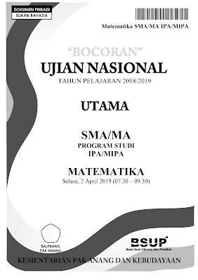 Download PDF Bocoran Soal UN Matematika SMA IPA 2019