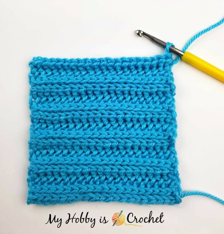 """Tutorial: How to CROCHET: Knit Look Ribbing """"Knit 2, Purl 2"""" in Rows  using the Yarn Over Slip Stitch"""