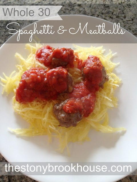 Whole 30 Spaghetti Squash and Meatballs