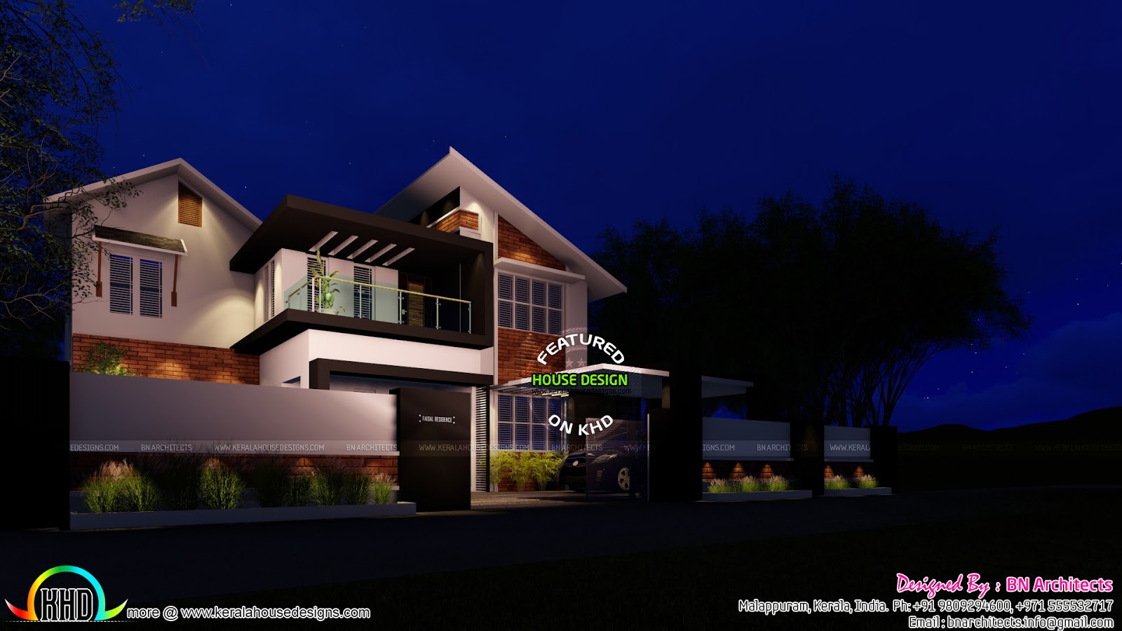 House Elevation Drawing Front Side : Mix roof modern bedroom home kerala design