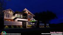 Mix Roof Modern 4 Bedroom Home - Kerala Design