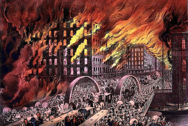 Currier & Ives poster of city fire