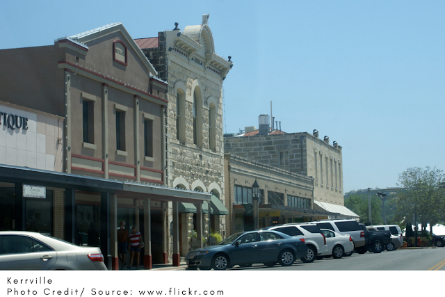 stately buildings on Kerrville's main street