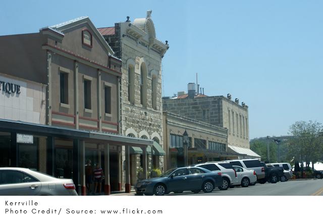 stately buildings on Kerrville's main street