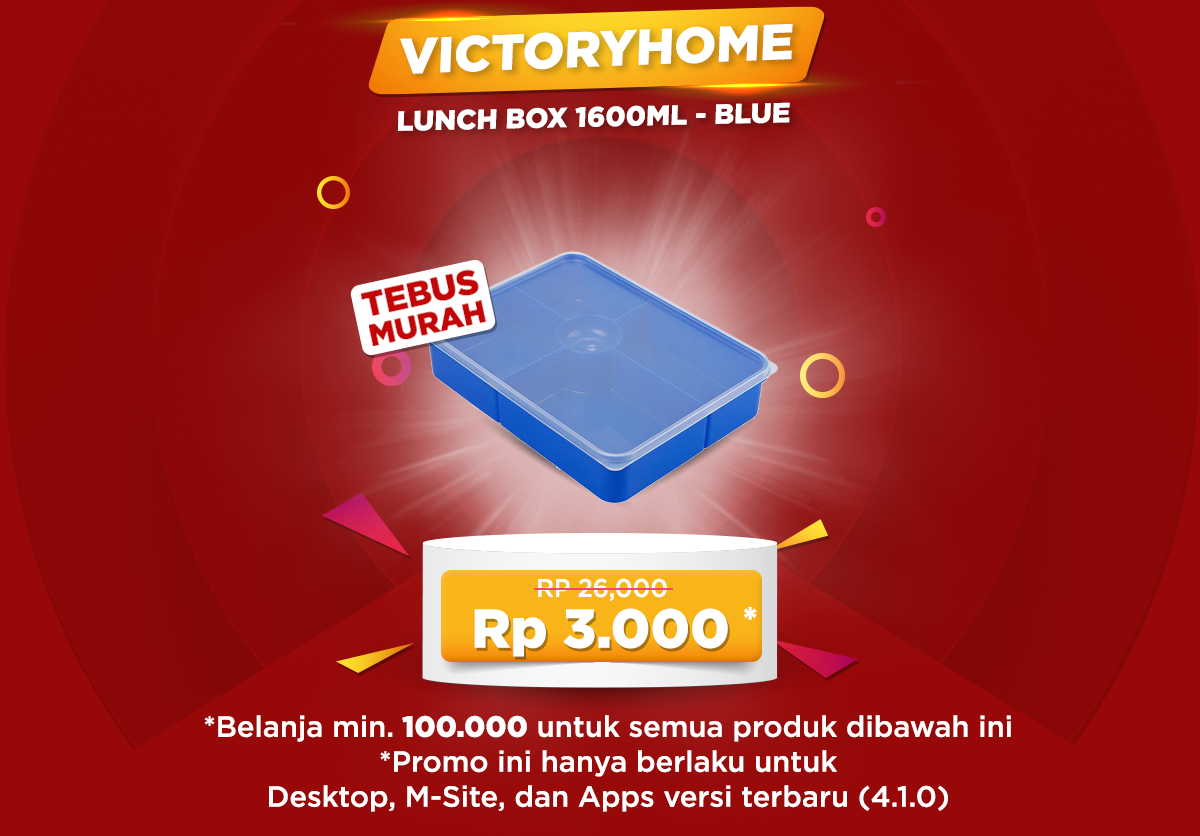 JdId - Promo Purchase With Purchase Cuma 3 Ribuan Luch Box 1600 ml - Blue