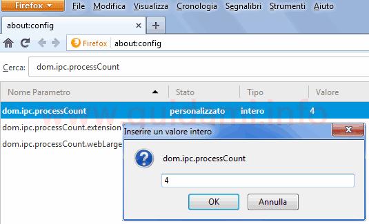 Firefox pagina parametri aboutconfig cambiare numero processi multipli