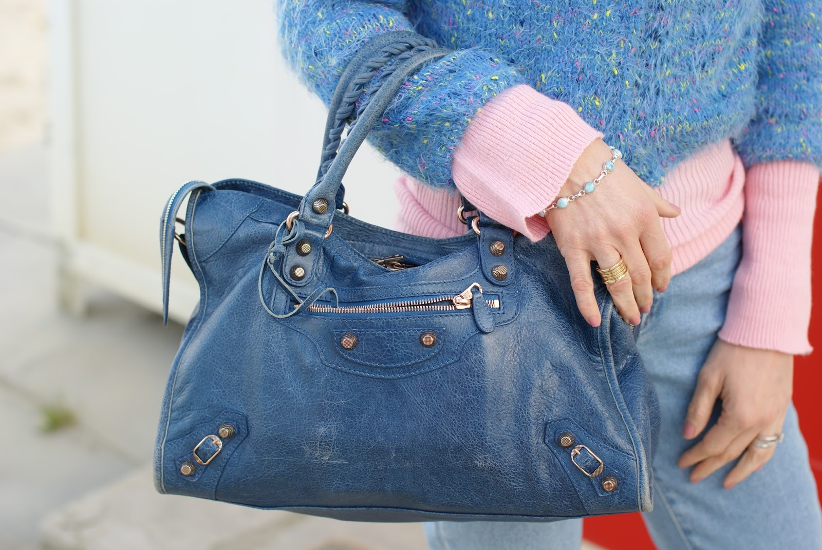 Larimar bracelet and Balenciaga bag on Fashion and Cookies fashion blog, fashion blogger style