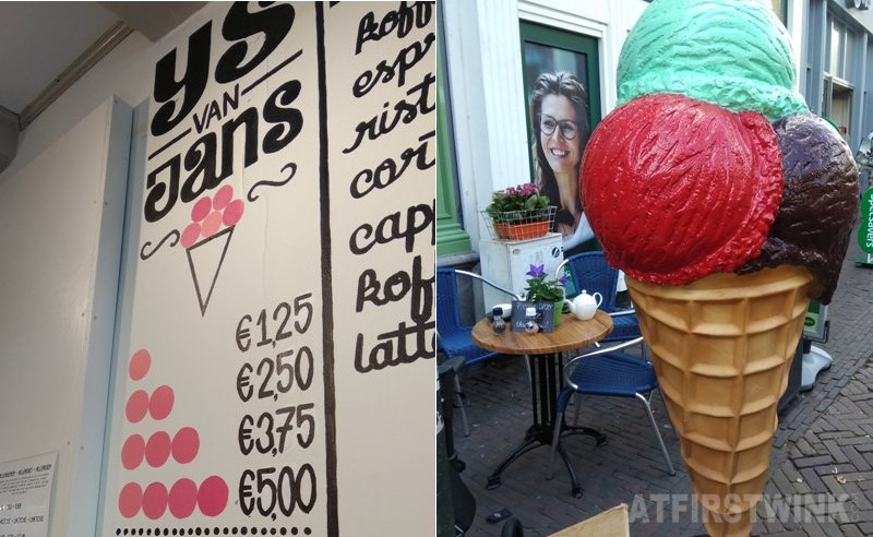 Jans Delft ice cream prices and giant ice cream cone at outdoor terrace