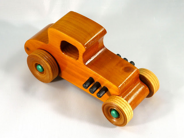 Top Right Front - Wooden Toy Car - Hot Rod Freaky Ford - 37 T Coupe - Pine - Amber Shellac - Metallic Green Hubs