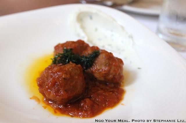 Short Rib Meat Balls, tomato sauce, whipped goat cheese at NERAI