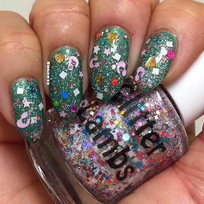 Cotton Candy Bubble Bath Glitter Lambs Nail Polish Swatched By @Suger23