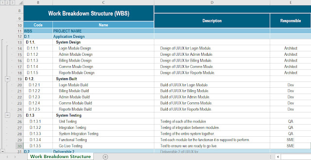 Work Breakdown Structure Template Excel, work breakdown structure excel,  wbs templates excel, WBS Dictionary