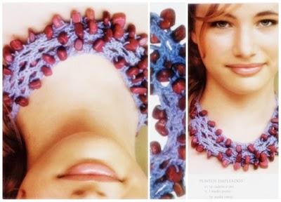 Gargantilla-Collar tejida a crochet con cuentas folk