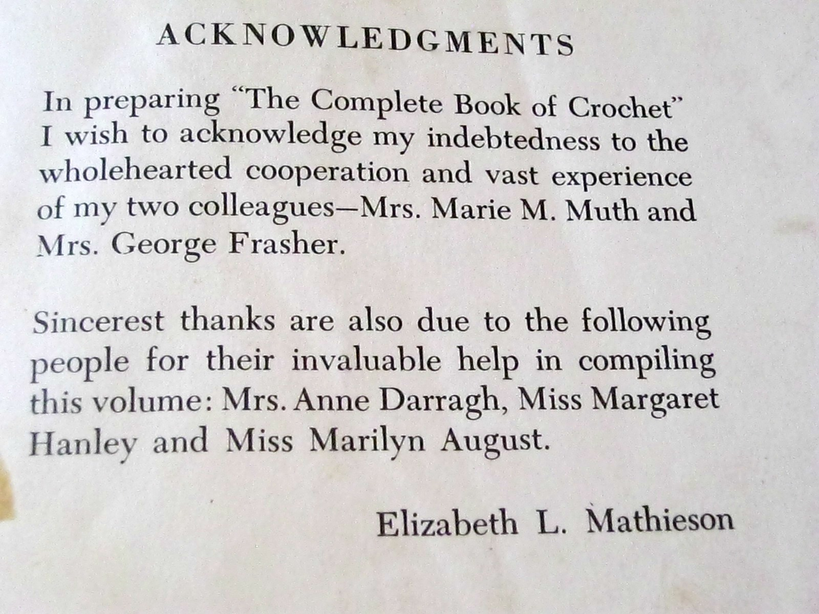 Writing acknowledgements in a book