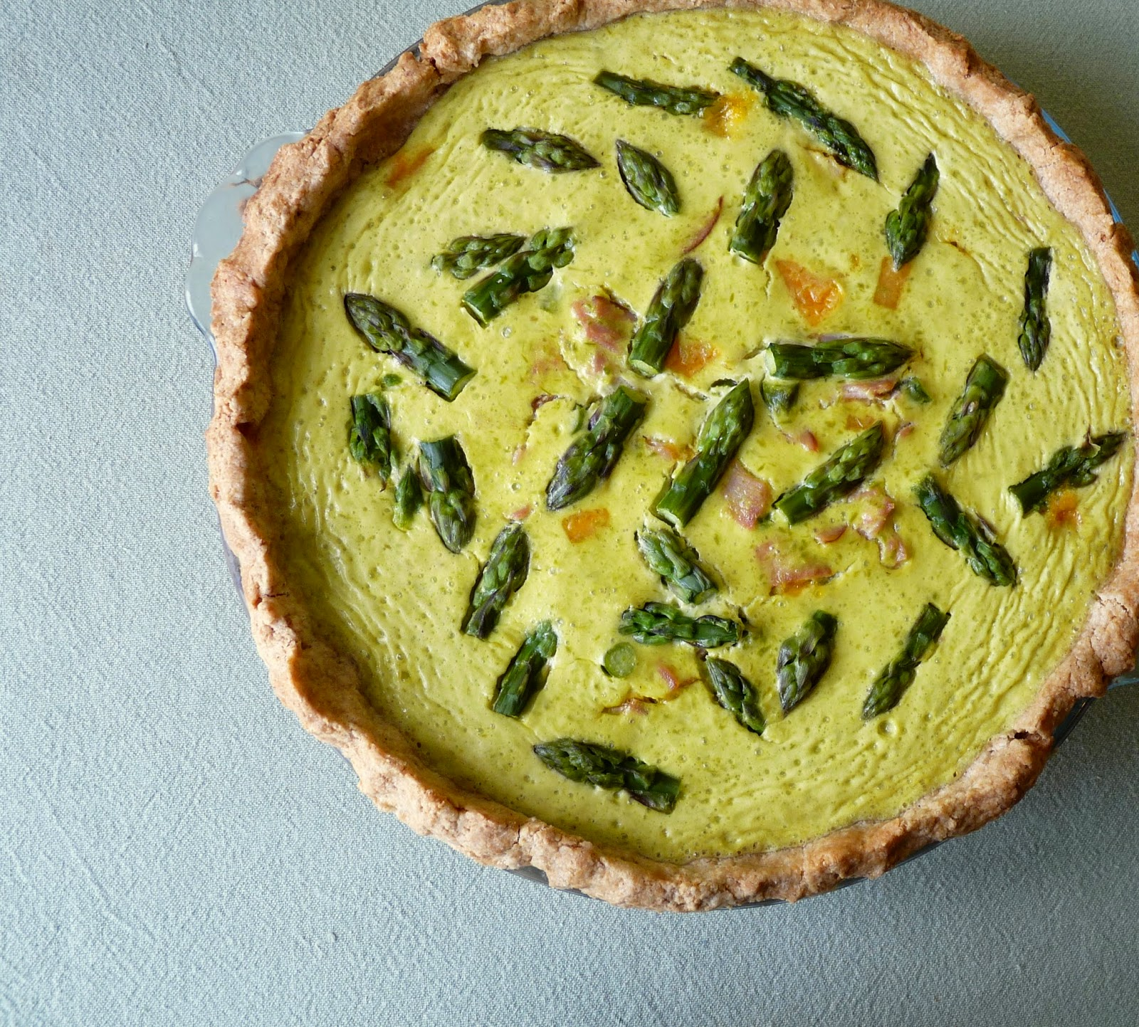 Creamy Asparagus Quiche with Ham and Cheddar
