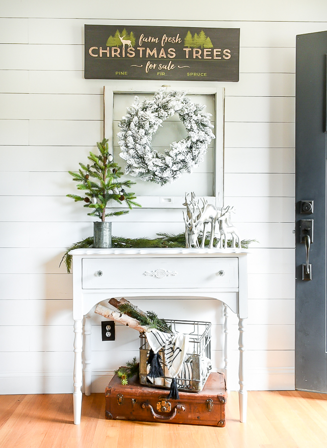 White painted small entry table makeover