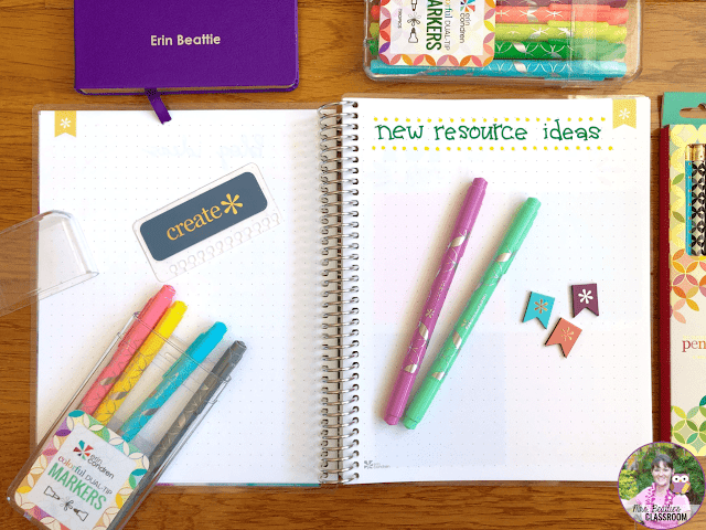 Journaling Supplies - Dual-Tip Markers and Coiled Notebook from Erin Condren