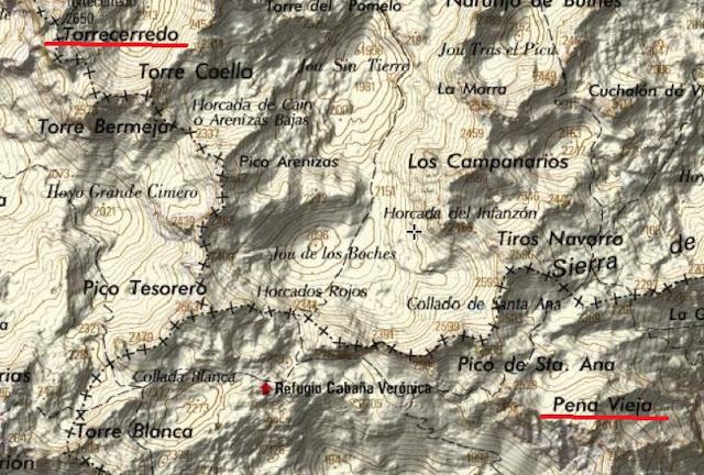 Torrecerredo y Peña Vieja en un mapa topografíco del Instituto Geográfico Nacional