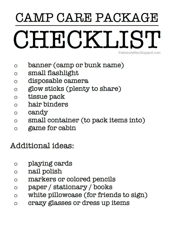camp care package checklist
