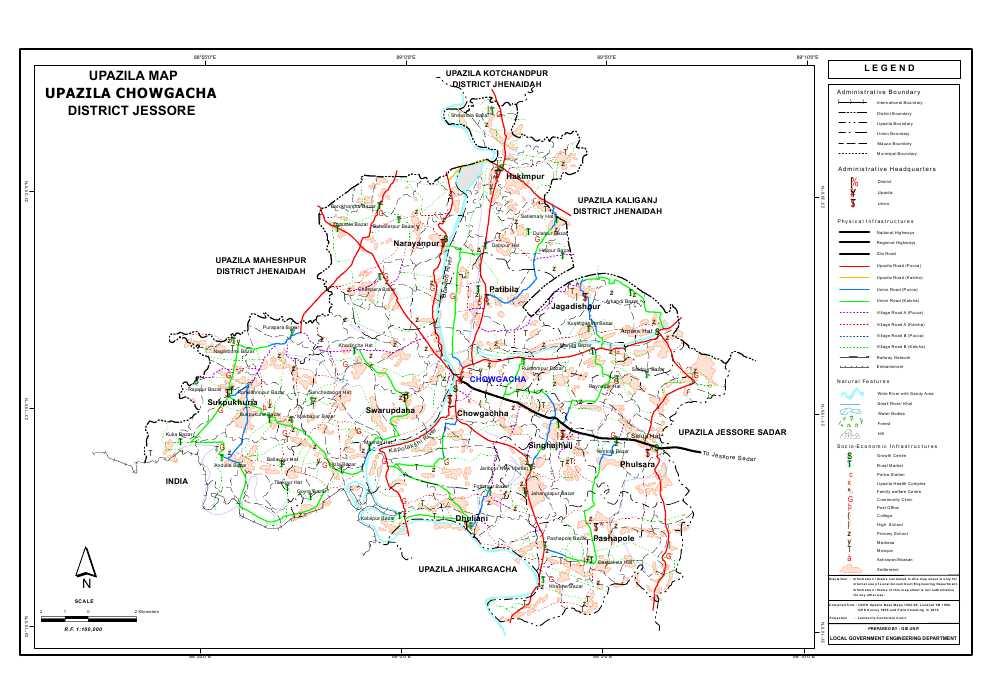 Chowgacha Upazila Map Jessore District Bangladesh