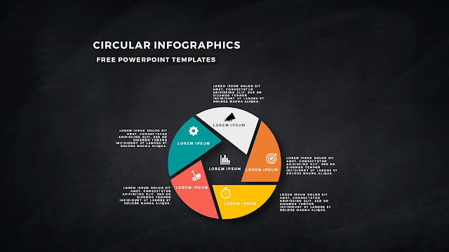Circular Infographics Free PowerPoint Template with 5 steps in Dark Background