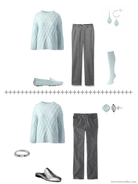two ways to wear a mint green cabled sweater with A Common Wardrobe