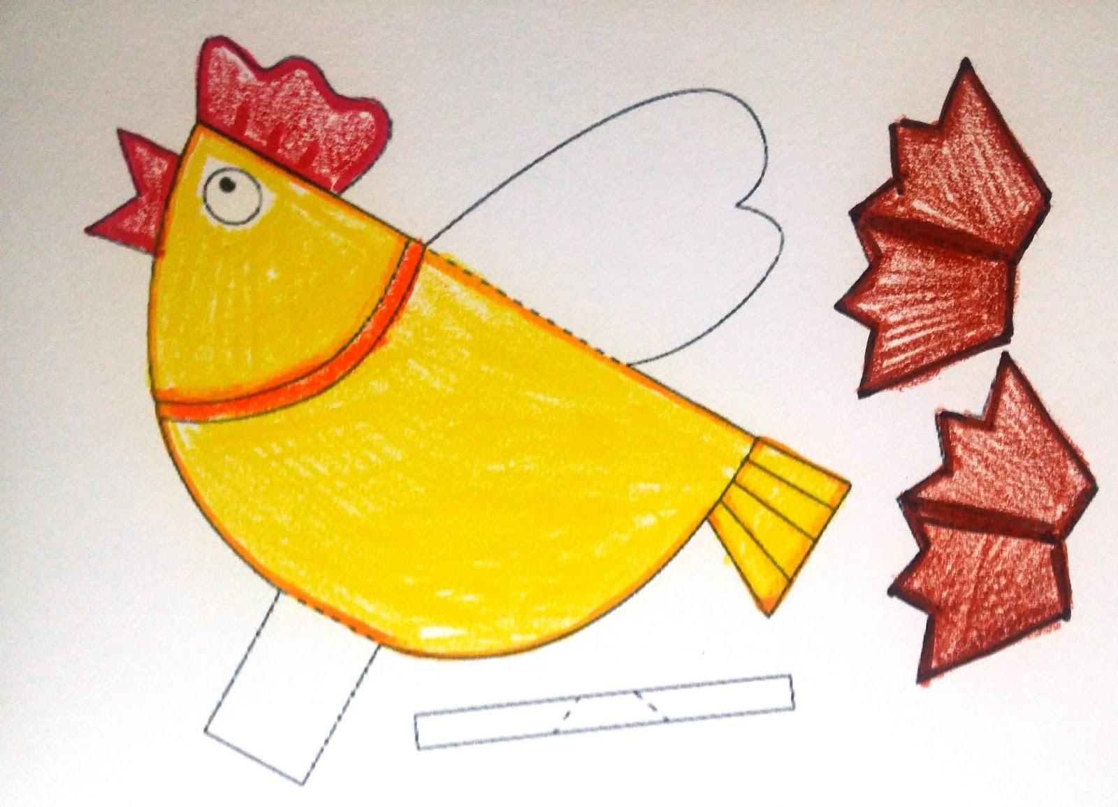 Craft membuat Ayam printkan pola gambar ayam dan mewarnai
