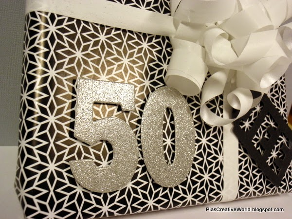 Pia S Creative World 50th Birthday Gift Wrapping Black White