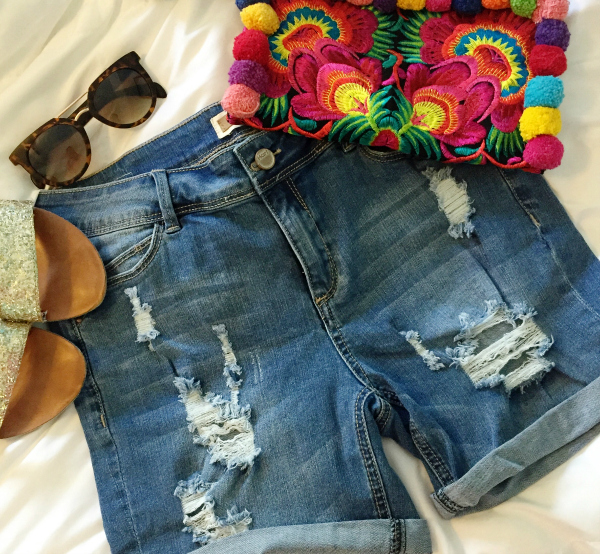 pom pom clutch, denim shorts