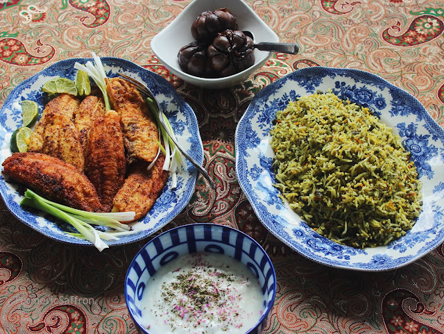 Iranian Sabzi Polo (Herbed Rice) with Mahi (Fish)