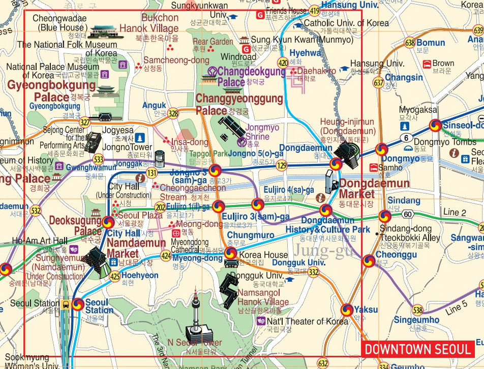 Seoul Subway Map With Attractions