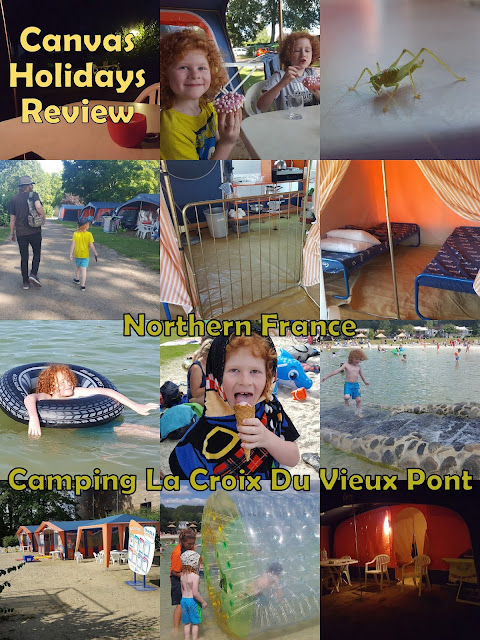 Collage of photos depicting french camping holiday with children