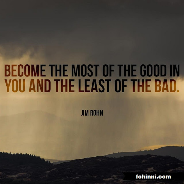 Become the most of the good in you and the least of the bad