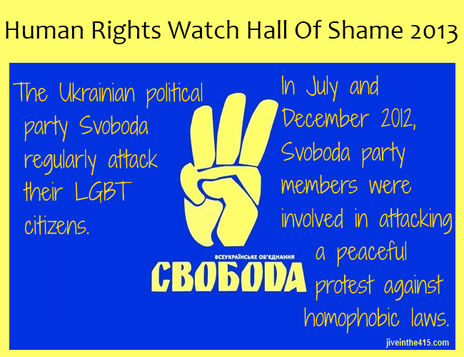 Ukrainian political party Svoboda adopted a party platform that equates drug dealing with homosexuality, and believes that that LGBT people and drug dealers should be punished in the same fashion.