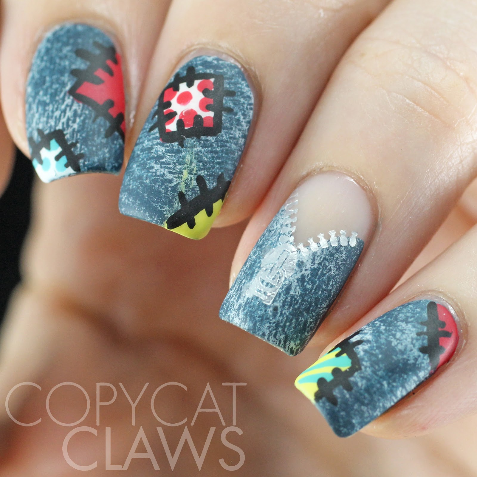 Copycat Claws: Patchwork Denim Nail Art