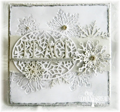 Our Daily Bread Designs Custom Dies: Holly Oval, Snow Crystals, Peace Border
