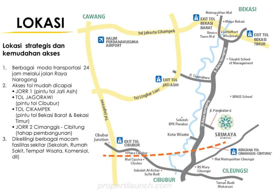Lokasi Perumahan Srimaya Residence Summarecon