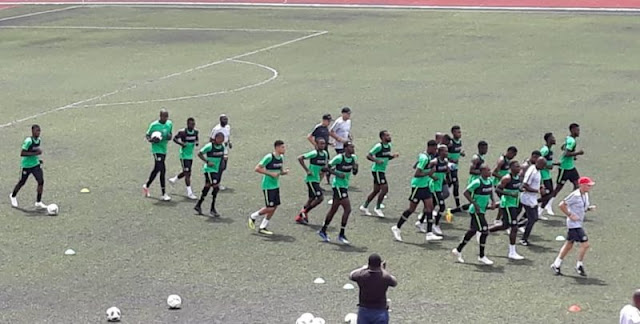 The Super Eagles during training